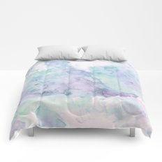Pastel modern purple lavender hand painted watercolor wash Comforters