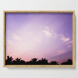 Blush pink purple sky Serving Tray