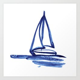 Sailboat in Blue Ink (Second in Set of Three) Art Print