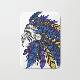 American Native Chieftain Head Bath Mat