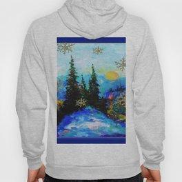 Blue Snowy Mountain Scenic Landscape Hoody