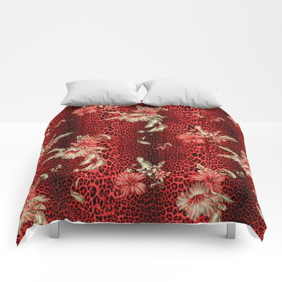 Wild Red Leopard and Flowers Comforters