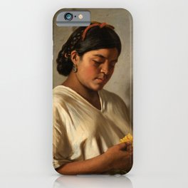 Indian Woman with Marigold by Felipe Santiago Gutiérrez iPhone Case