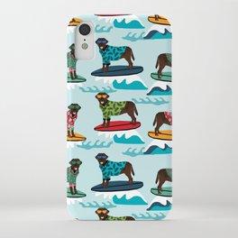 Chocolate Labrador surfing dog breed pattern iPhone Case