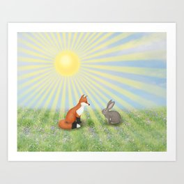 fox and bunny Art Print