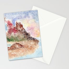 Mysterious Island Watercolor Illustration Stationery Cards
