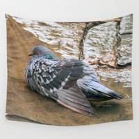 pigeon Wall Tapestries featuring Pigeon in Puddle Photography by PassingEcho