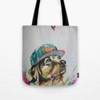 labrador Tote Bags featuring LABRADOR by EDSON RAMOS