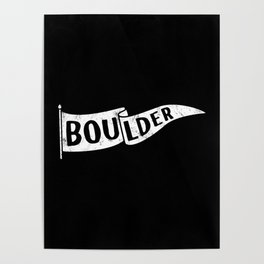 Boulder Colorado Pennant Flag B&W // University College Dorm Room Graphic Design Decor Black & White Poster