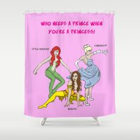 superheros Shower Curtains featuring Who Needs a Prince by Tears of  Colour