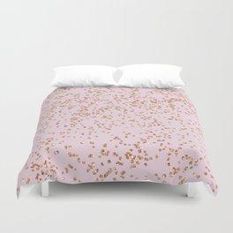 Rose gold diamond confetti Duvet Cover