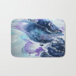 Navy Blue, Teal and Royal Purple Marble Bath Mat