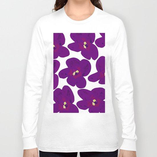 Purple Retro Flowers Long Sleeve T-shirt