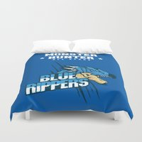 monster hunter Duvet Covers featuring Monster Hunter All Stars - Blue Rippers by Bleached ink