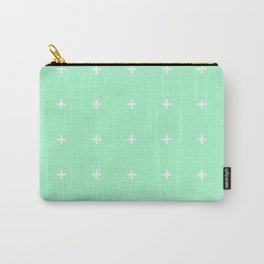 PLUS ((white on seafoam green)) Carry-All Pouch