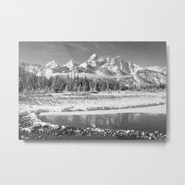 Grand Teton Winter Black & Winter Wyoming National Park Mountain Landscape Metal Print