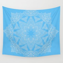 Mandala White on Periwinkle Blue Bohemian décor Wall Tapestry