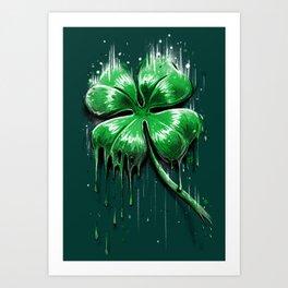 Four Leaf Clover Melting Luck Art Print