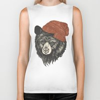 uk Biker Tanks featuring zissou the bear by Laura Graves