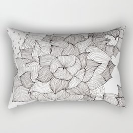 Black and white echeveria succulent Rectangular Pillow