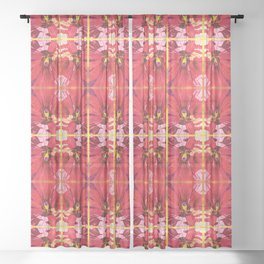 Red Hibiscus Flower Watercolor Portrait Sheer Curtain