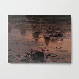 Angkor Wat's Water Lilies Metal Print
