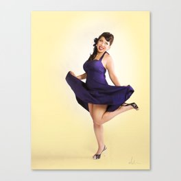 """Flirt Skirt"" - The Playful Pinup - Cheesecake Pinup Smile in Purple Dress by Maxwell H. Johnson Canvas Print"