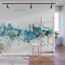 Heidelberg Germany Monochrome Blue Skyline Wall Mural