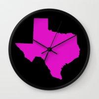 texas Wall Clocks featuring texas  by dani