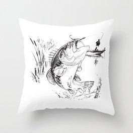 Bass Fishing Throw Pillow