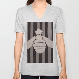 Halloween Bee with Stripes Unisex V-Neck
