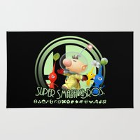 super smash bros Area & Throw Rugs featuring Olimar - Super Smash Bros. by Donkey Inferno
