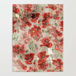 Red Poppies, New England Pastoral Tapestry landscape painting Poster
