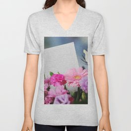 Flowers and a White Sheet of Paper Unisex V-Neck