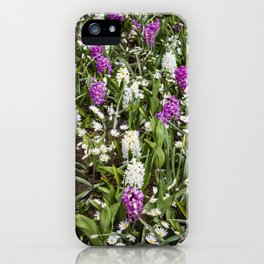 Field of White and Purple Hyacinth Flowers and Daisies in Amsterdam, Netherlands iPhone Case