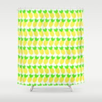 pineapples Shower Curtains featuring Pineapples by Kara Hayley