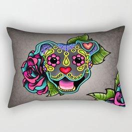 Smiling Pit Bull in Blue - Day of the Dead Pitbull Sugar Skull Rectangular Pillow