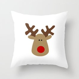 Christmas Reindeer-White Throw Pillow