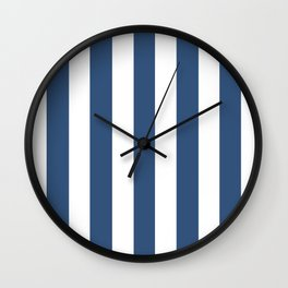 Metallic blue - solid color - white vertical lines pattern Wall Clock