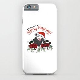 Merry Hissmas - floral christmas themed possum baby iPhone Case