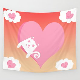 White Cat at Sunset  Wall Tapestry