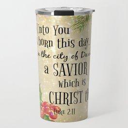 Christmas Bible Verse Typography Travel Mug