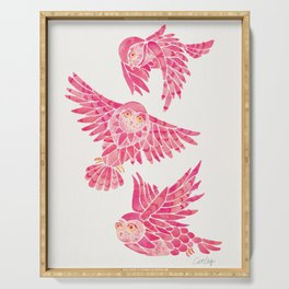 Owls in Flight – Pink Palette Serving Tray