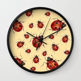 ABSTRACT RED LADY BUGS ON CREAM COLOR DESIGN ART Wall Clock