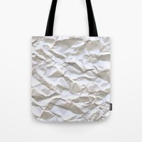 glitch Tote Bags featuring White Trash by pixel404