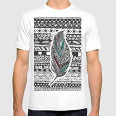 Aztec Feather. White Mens Fitted Tee MEDIUM
