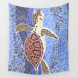 sea turtle: unity through collage Wall Tapestry