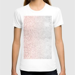 Blush Pink Sparkles on White and Gray Marble T-shirt
