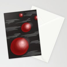 Shiny Red Planets Stationery Cards