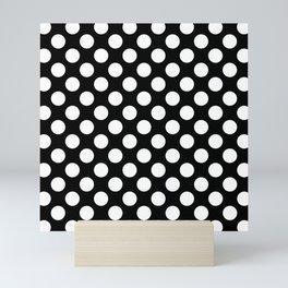 Black and white polka dots pattern Mini Art Print